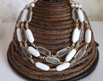 Vintage West Germany 3 strand beaded lucite necklace white clear frosted bezel set stones