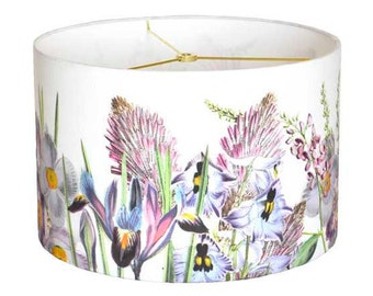 14 Inch  - READY TO SHIP - Violet Garden Party Lamp Shade - Orchid Pink Lavender Flower Lampshade Botanical Lampshade - Sample Sale