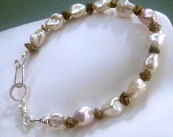 Organic, Keishe, Keshe,  Pearl & Pyrite Bracelet, Fools Gold, silvery pyrite, sterling silver, feminine, rustic, gifts for her, handmade,