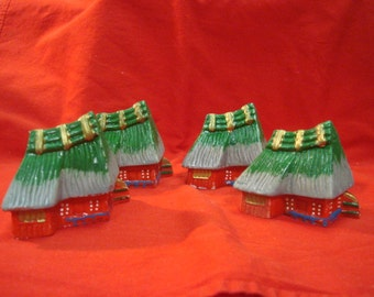 Set 4 1940's Asian Occupied Japan Porcelain Hut Houses Set of 4 Vintage Fairy Garden Builders Delight Green Grey Roof