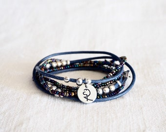 TOTAL BLUE, NEW, Wrap Bracelet, gift, unisex, wrap, beads, blue, bracelets, charm and beads silvered, total blue and silver, for summer