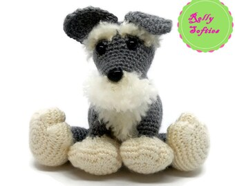 Schnauzer dog amigurumi crochet pattern, PDF instant download