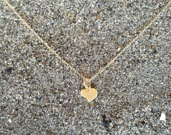 16K Matte Gold, Heart Necklace, Tiny Heart Pendant