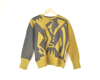 gray and olive green abstract graphic knit sweater pullover 80s // S-M