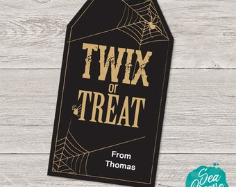 Printable and personalized Halloween tags | Twix or Treat tags | Halloween favour