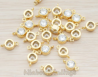 CNT038-G // Glossy Gold Plated Clear Crystal Cubic Zirconia Setting Small Round Connector, 2 Pc