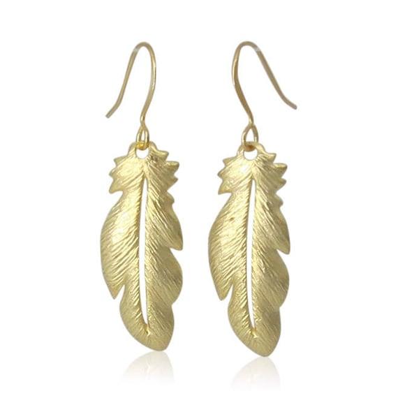 Boho Gold Feather Earrings