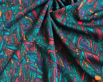 Vintage Teal Red Abstract Fabric