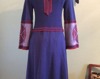 Vintage 1970s Maxi Knit Sweater Dress