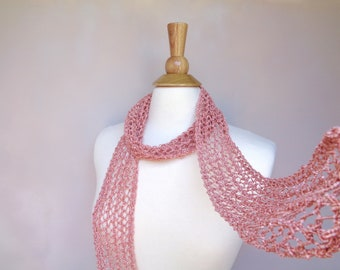Peach Skinny Scarf, Trendy Fashion, Salmon Pink, Hand Knit, Cotton Blend, Women Teen Girls Summer Scarf, Lacy Neck Scarf, Gift for Her