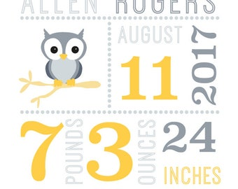 Personalised baby name print  - Birth Announcement Print - with cute animal