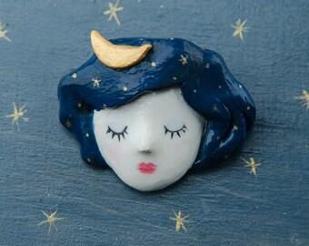 Girl Night Star Moon Brooch. Doll Brooch, Starry Night Sky Fantasia Inspired on Head of Doll Girl, approximately 48 x 40 mm