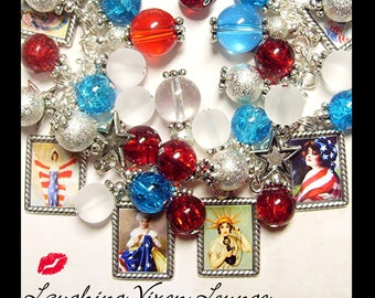 4th Of July Bracelet - July 4th Necklace - 4th Of July Jewelry - Red White And Blue Full Photo - 4th Of July Charm Bracelet - Memorial Day