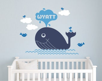 Whale Name Wall Decal: Personalized Ocean Baby Nursery Whale Nautical Sea Life Under-the-Sea Room Decor