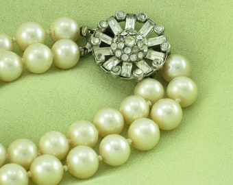 Hand Knotted Two Strand Faux Pearl Necklace; Vintage Clear Rhinestone Clasp; Classic Chic Wedding