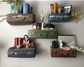 Vintage Suitcase Shelves, Travel Themed Shelving, Suit Case Shelving, Suitcase Display, Custom Made Vintage Suitcase Shelf Large Suitcases