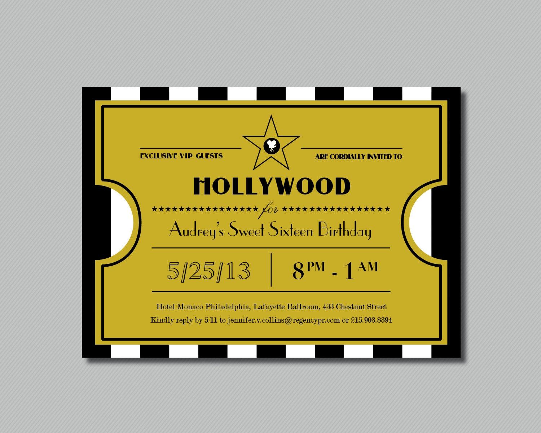 printable hollywood sweet sixteen ticket invitation. Black Bedroom Furniture Sets. Home Design Ideas