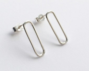 LINEAR STUDS - Rectangle Earring, Rectangular Stud Earring, Small Stud Earrings, Simple Sterling Silver Jewellery 925