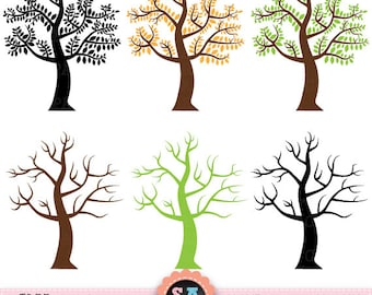 "Tree  Clipart ""TREE CLIP ART""pack,Tree Silhouettes,Tree Branchs, Branchs,Silhouettes, Branch and Leave, Instant Download Pg003"