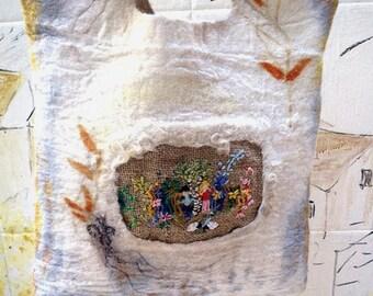 Handmade wool felt, embroidery, botanical printed,  fairy, worry free , handbag, purse
