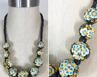 30% Off Sale Vintage Style Black, Yellow, Blue Floral Hand Painted Bead Single Strand Necklace