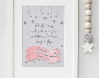 Personalised Baby/Infant Loss Twins Memorial Remembrance Keepsake Not All Twins Walk Side By Side Quote Picture Print