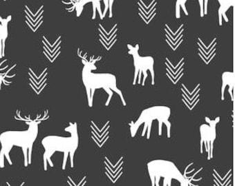 Deer Crib Sheet Changing Pad Cover /Alma Mini Crib Sheet Babyletto Black White Fitted Crib Sheet /Woodland Baby Bedding Set /Neutral Bedding