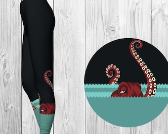 Eco Friendly Yoga Pants - Octopus - Bohemian Leggings - Nautically naughty