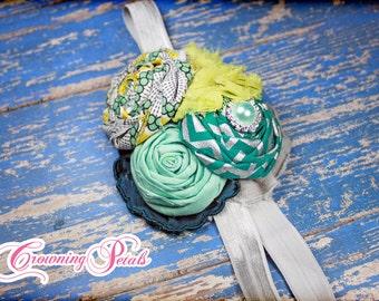 Turquoise, Lime, silver Headband, teal, girls headband, Baby Girl Hair Bow, Turquoise Hair Accessory, Hair Clip, Flower Hair Piece, custom