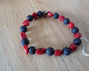 Lava and red coral bracelet