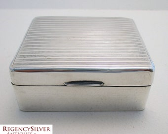 20s Solid Sterling Silver Cigarette/Trinket/Jewelry Box Case Casket. English Hallmarked. Early 20th-century. Antique/Vintage.