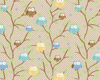 Snips & Snails Owls Brown by Doodlebug Designs for Riley Blake, 1/2 yard