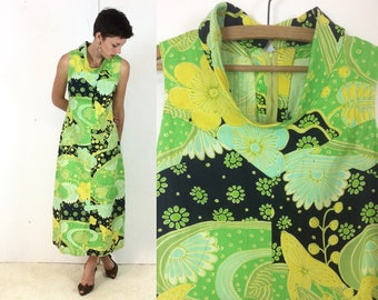 1970s Classic High Collar Lime Green Psychedelic Maxi Dress