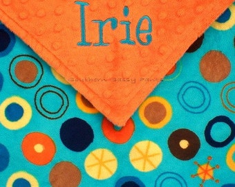 Personalized Baby Boy Security Blankie , Circle O Le Minky  , Little Lovie - LIMITED