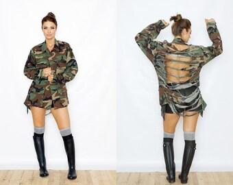 Adult Distressed Shredded Camouflage Camo Woodland Army Jacket Small, Medium, Large