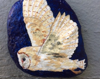 Barn owl in flight painted rock paperweight