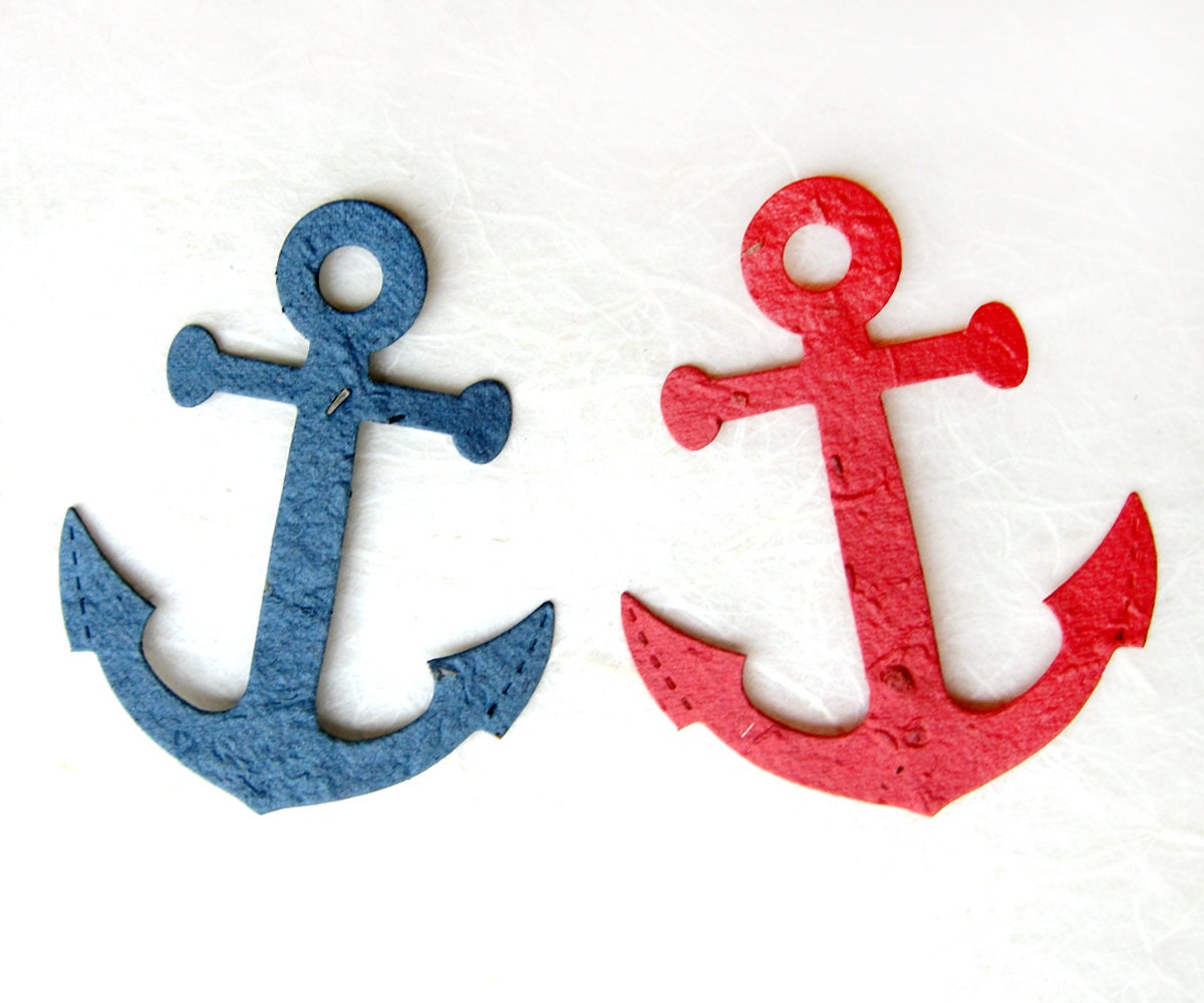 50 Plantable Seed Paper Anchors Nautical Wedding Favors