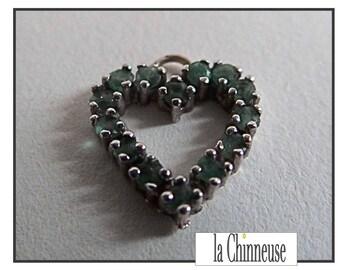 18 K White Gold / White Gold heart pendant & Emerald / pendant in 18 k White Gold and Emerald / Vintage Jewelry / Gift for her.