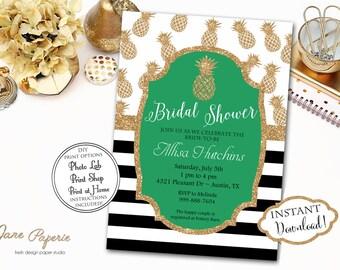 INSTANT DOWNLOAD - Gold Glitter Pineapple Bridal Shower Invitation - Luau Bridal Shower - Hawaiian Bridal Shower - Gold Glitter - 0161
