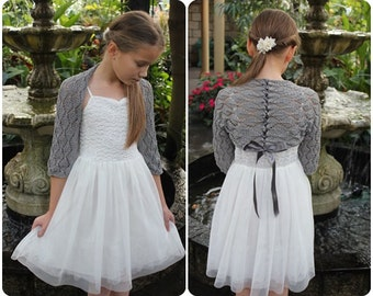 Lace Shrug with ribbon for little girls in grey cotton, 1-10 years, wedding, christening, baptism, flower girl, bridesmaid
