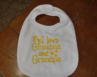 Embroidered Baby Bib - I Love Grandma & Grandpa - Gender Neutral/Yellow