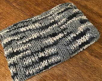 Chunky Knit Afghan, black,grey,off white,hand crafted