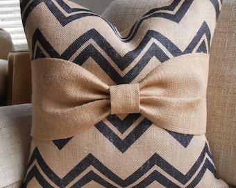 Black chevron Burlap Bow pillow cover 18x18