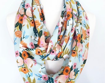 Mint Green Rifle Paper Co Floral Rayon Infinity Scarf - Handmade - For Her, Spring Fashion, Mother's Day, Summer