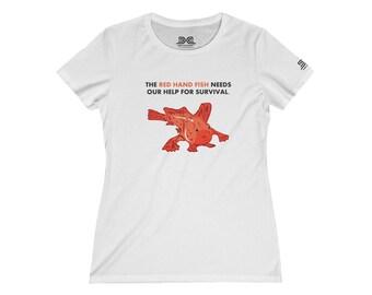 Womens Tee Shirt  Animals Red Handfish Colored Print