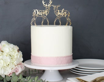 Personalized Modern Rustic Deer Patronus Wedding Cake Topper | Custom Name