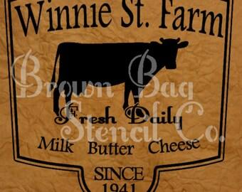 Winnie St. Farm Stencil - 12x12 - mylar stencil - Cow Stencil