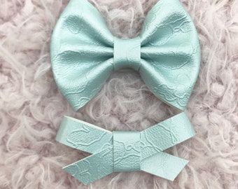 Powder Holographic Lace Vegan Leather Bow