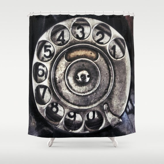 Call Me Shower Curtain, Bathroom, Vintage Home Decor, Old phone Dial Shower Curtain, Black, Steampunk, Noir, Numbers, Metal, Beach, Retro