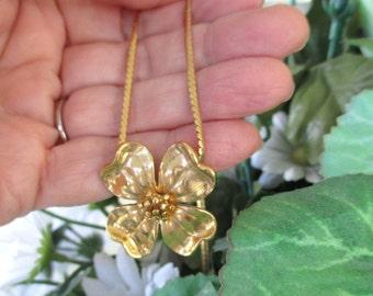 Flower Pendant Necklace * Vintage Monet * Dogwood Flower
